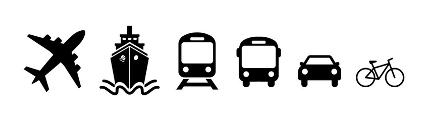 Transport icon set. Flat shipping delivery symbols