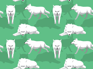 White Wolf Arctic Background Seamless Wallpaper