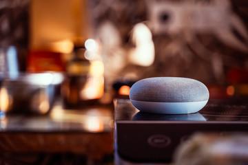 Smart ai speaker. Smart home concept