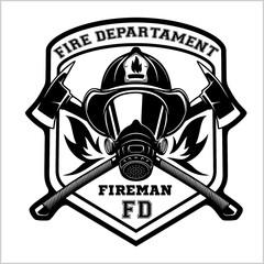Fire department emblem - badge, logo on white background - vector illustration.