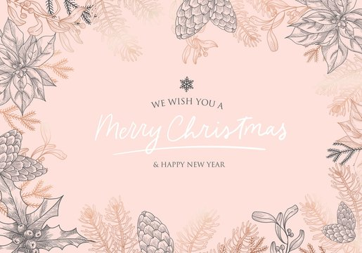 We wish you Merry Christmas and Happy New Year postcard vector illustration. Hand sketched winter greeting card pink and gold. Poster with snowflake, fir and lettering