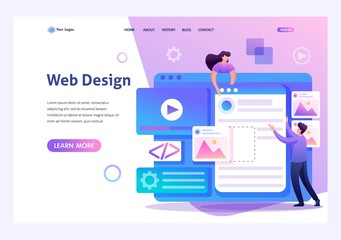Obraz Young people are engaged in web design, website page development. Flat 2D character. Landing page concepts and web design - fototapety do salonu