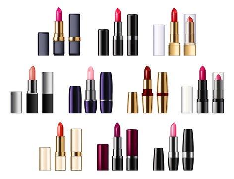 Lipsticks in tubes palette, pomade applicator
