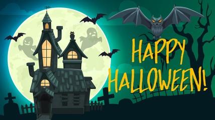 Halloween ghosts, bats, haunted house, gravestone