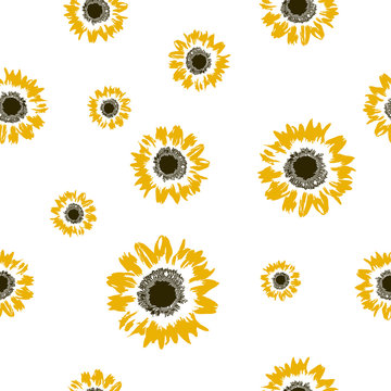 Seamless pattern yellow Sunflower on white, baby print vector eps 10