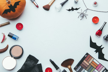Image of shadows, brushes, halloween spider, ghost on empty white background.