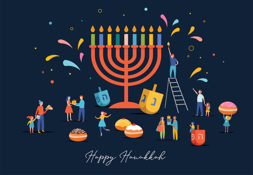 Happy Hanukkah, Jewish Festival of Lights scene with people, happy families with children