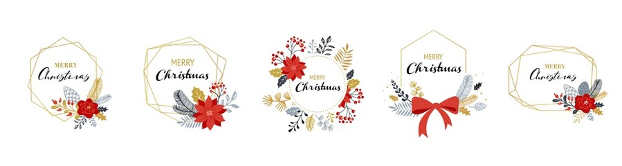 Merry Christmas logos, hand drawn elegant, delicate monograms isolated on white background. Hand drawn vector collection