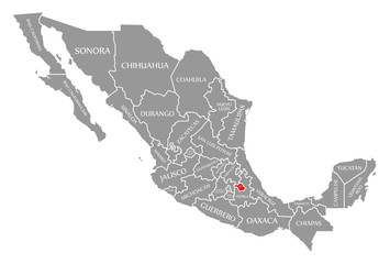 Tlaxcala red highlighted in map of Mexico