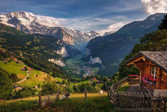 Lauterbrunnen valley in the Swiss Alps viewed from the alpine village of Wengen