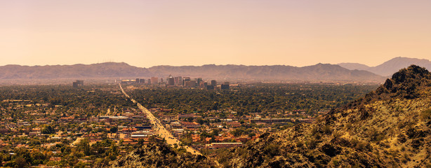Fototapete - Panorama of Phoenix downtown