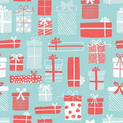 Christmas gift boxes pattern with ribbons in hand drawn doodle style. Winter holiday background with presents. Seamless design for greeting cards, invitations, posters.
