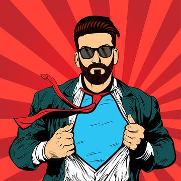 ОсновныHipster beard male businessman pop art retro vector illustration. Strong Businessman in glasses in comic style. Success concept.е RGB
