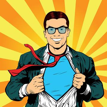 Super hero male businessman pop art retro vector illustration. Strong Businessman in glasses in comic style. Success concept.