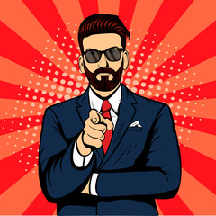 Bearded hipster businessman pointing finger pop art retro vector. Index finger. Promo people