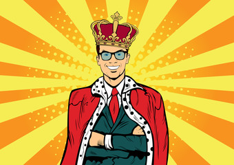 Garden Poster Pop Art Business king. Businessman with crown. Man leader, success boss, human ego. Vector retro pop art comic drown illustration.
