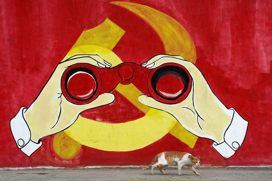 A cat keeps watch next to a mural showing an image of the Chinese Communist Party's emblem along a street in Shanghai,