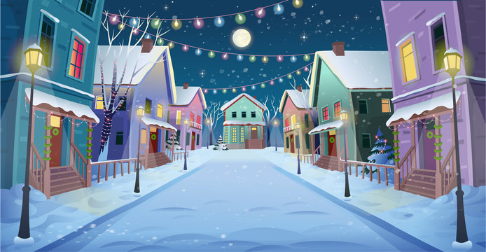 Panorama road over the street with lanterns and a garland. Vector illustration of winter city street in cartoon style.