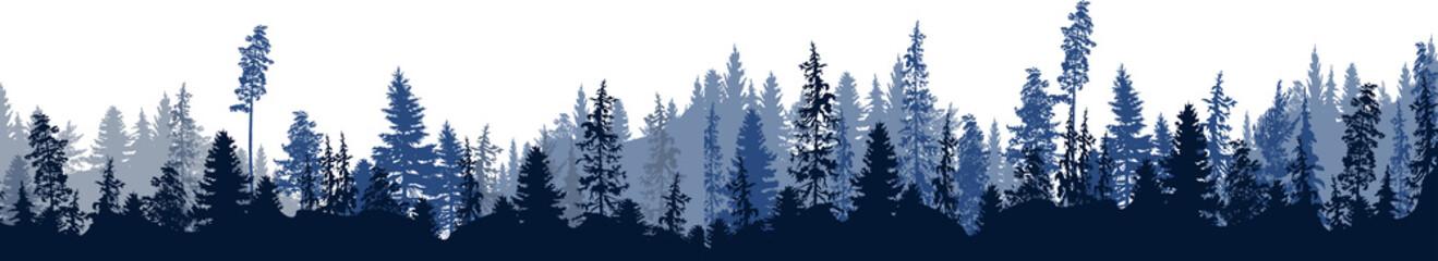 dark blue fir forest stripe isolated on white