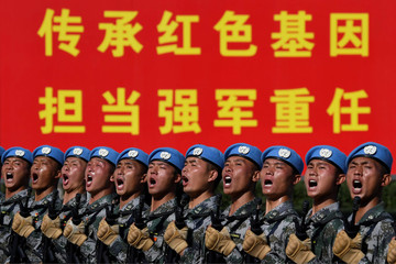 Chinese soldiers practice marching in formation ahead of military parade to celebrate the 70th anniversary of the founding of the People's Republic of China in Beijing