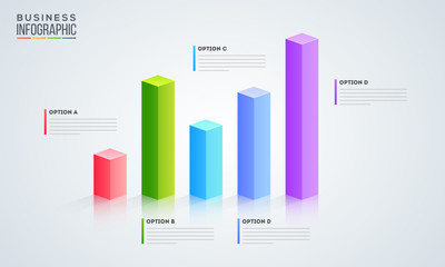 3D infographic graph with five option for Business infographic presentation.
