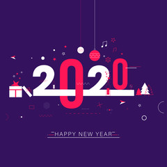 Stylish text 2020 decorated with gift box, xmas tree, star and baubles on purple background for Happy New Year celebration greeting card design.