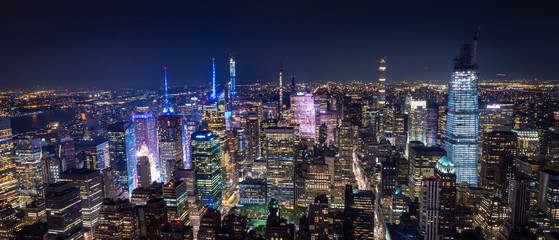 Foto auf Leinwand New York aerial view of manhattan new york at night - image