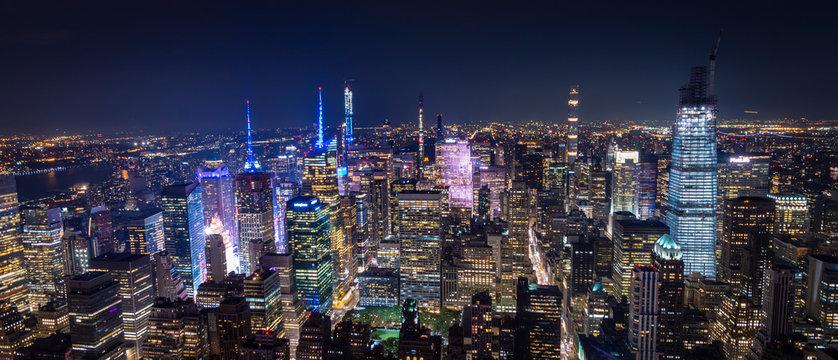 aerial view of manhattan new york at night - image
