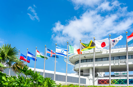 Miami airport building with flags of different countries