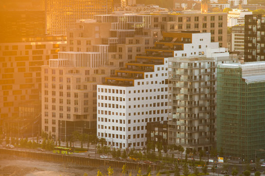 View of street in the Oslo business center at sunset time. Golden hour. Modern architecture in Norway