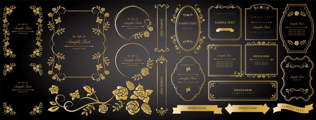 Gold color decorative frame set