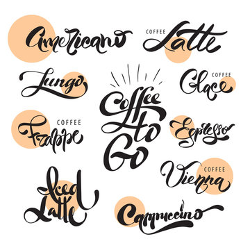 Coffee menu calligraphy set. Vector lettering