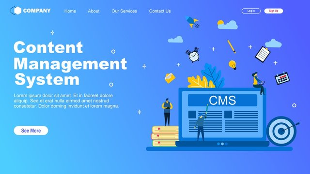 Website or landing page of Content management System with Tiny People Character Concept Vector Illustration, Suitable For web landing page,Wallpaper, Background, Card, banner,Book Illustration