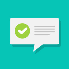 White message notification bubble speech with approved checkmark symbol vector, flat carton complete tick notifying successful update, accepted or finish icon isolated image