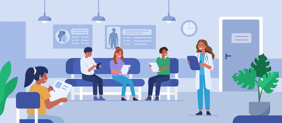 Fototapeta People characters sitting on chairs and waiting appointment time in medical hospital. Doctor inviting next patient in cabinet. Man and woman in queue at the clinic. Flat cartoon vector illustration. obraz