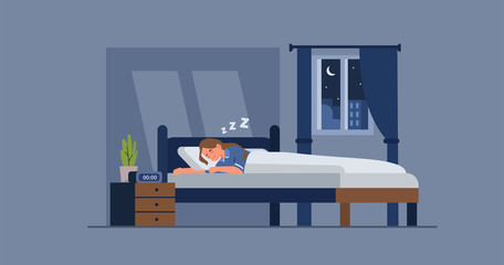 Woman in pajama sleeping in bed at night. Female character lying and resting in a cozy room after a hard day. Girl bedroom interior. Good night and sweet dreams. Flat cartoon vector illustration.