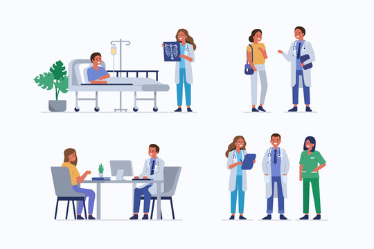 Medical staff and patients. Female doctor check patients x-ray in clinic. Male doctor therapist consulting woman. Healthcare team in hospital. Medical People characters set. Flat vector illustration.