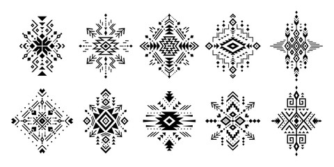 Papiers peints Style Boho Aztec vector elements. Set of ethnic ornaments. Tribal design, geometric symbols for border, frame, tattoo, logo, cards, decorative works. Navajo motifs, isolated on black background.