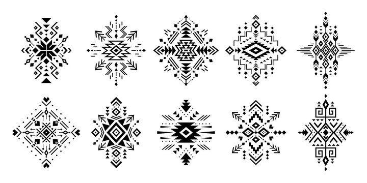 Aztec vector elements. Set of ethnic ornaments. Tribal design, geometric symbols for border, frame, tattoo, logo, cards, decorative works. Navajo motifs, isolated on black background.
