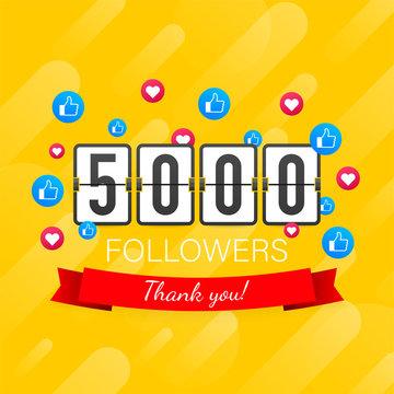 5000 followers, Thank You, social sites post. Thank you followers congratulation card. Vector stock illustration