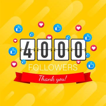 4000 followers, Thank You, social sites post. Thank you followers congratulation card. Vector stock illustration