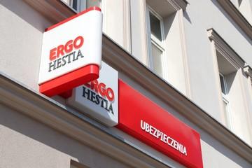 CHORZOW, POLAND - APRIL 7, 2018: Ergo Hestia insurance agency in Chorzow, Poland. Ergo Hestia is one of largest insurance companies in Poland.