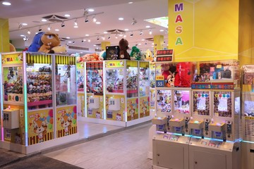 TAIPEI, TAIWAN - DECEMBER 3, 2018: Claw machine gaming parlor in Taipei, Taiwan. Claw machine arcades in Taiwan suddenly rose in numbers from 3,300 in 2017 to 6,000 in 2018.