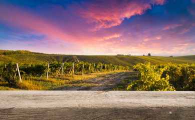 Red wine with barrel on vineyard in green Tuscany, Italy Fototapete