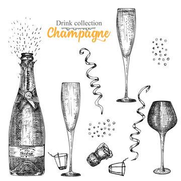 Set hand drawn sketch bottle and glasses champagne, Vintage design bar, restaurant, cafe menu on white background. Graphic vector art Creative template for flyer, banner, poster