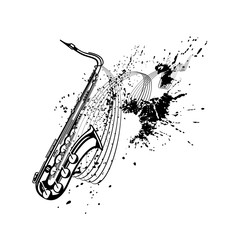 Music. Lines, saxophone.