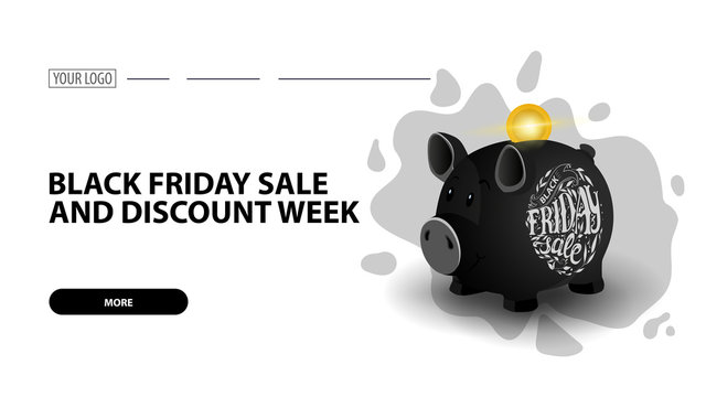 Black friday sale and discount week, white horizontal discount web banner with black piggy Bank