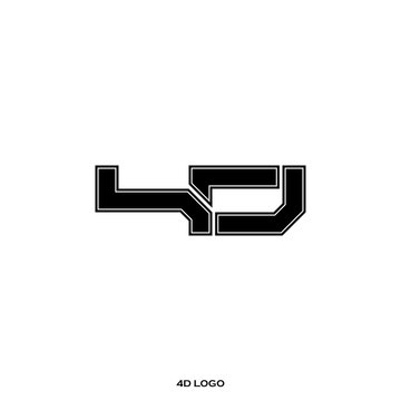 Initial letter and number logo, D and 4, D4, 4D, negative space black. Logo template.