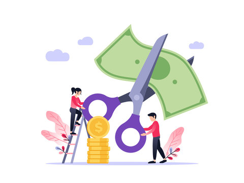 Small people with scissors cutting dollar together. Vector flat illustration of rate cut. Financial concept.
