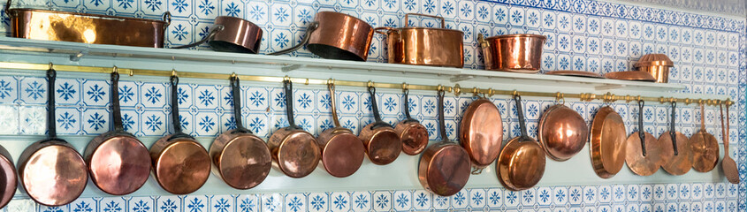 Giverny, France-7 july 2019: kitchen of Claude Monet